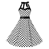 XJLUS-Apparel Vintage Dot Printing Dresses for Women 1950S Sleeveless Bandage Evening Party Swing Dress