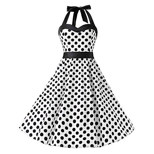 Flapper Dress, Dot Printing Sleeveless,Dress for Women, Vintage Bandage Evening Party Swing Dress White (Peignoir Vintage)