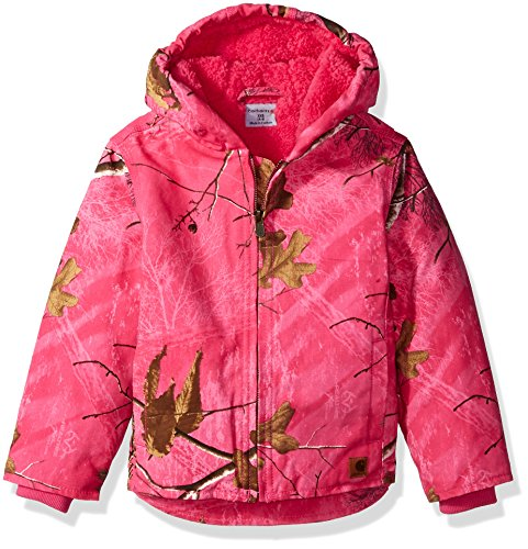 - Carhartt Girls' Big Redwood Jacket Sherpa Lined, Pink Peacock Camo, Small (7/8)