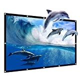 JIAQUAN 120'' Outdoor Projector Screen,16:9 HD Foldable Anti-Crease Portable Outdoor Indoor Front Movies Screen for Home Theater Support Camping and Recreational Events Double Sided Projection