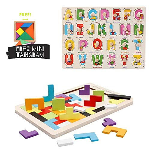 - Wooden Puzzles 3 Pcs Alphabet Peg Tetris 3D Russian Blocks Classic Tangram Jigsaw Puzzle Brain Teasers Educational Game Colorful 3 in 1 Puzzle Storage Box