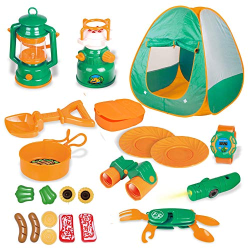 Litand 22 PCs Kids Outdoor Outside Toys - Kids Camping Gear Toys with Play Tent Set for Toddler
