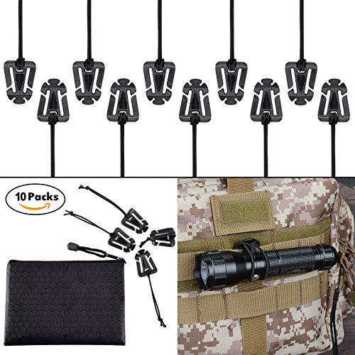 BOOSTEADY Pack of 10 Tactical Gear Clip Molle Web Dominators for Outdoor Hydration Tube Backpack Straps Management with Zippered Pouch by (Pack Molle Black Hydration)