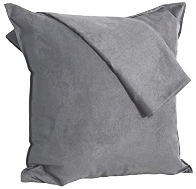 2-Pack Cushion Covers New Design Solid Color Comfortable Faux Suede Decorative Throw Pillow Covers 18 x 18 inches Pillowcases for Sofa Couch Living Room Decor