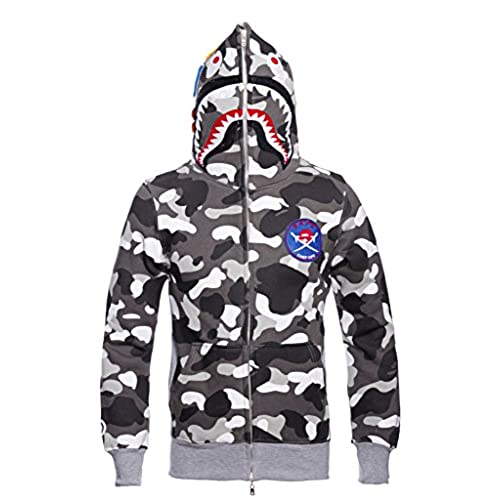Christo Mens Jogger Hoodies Sweatshirt Outdoor Exercise Coat Casual Hip-Hop Jacket Camo (Asia L)US M