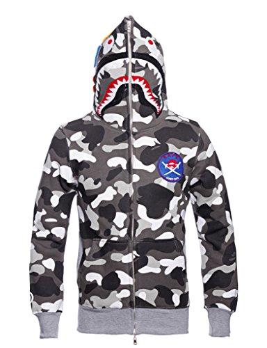 Price comparison product image Christo Mens Jogger Hoodies Sweatshirt Outdoor Exercise Coat Casual Hip-Hop Jacket Camo (Asia L)US M