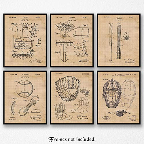 Original Baseball Patent Art Poster Prints - Set of 6 (Six 8x10) Unframed Vintage Style Pictures- Great Wall Art Decor Gift for Player-Fan-Coach-Student-Teacher, Man Cave, Garage, Home, Office