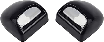 HERCOO License Plate Lights Lamp Lens Black Housing Compatible with 1999 after Silverado Sierra Avalanche Suburban Escalade Yukon Chevy GMC Cadillac Step Bumper Truck Clips Aftermarket Pack of 2
