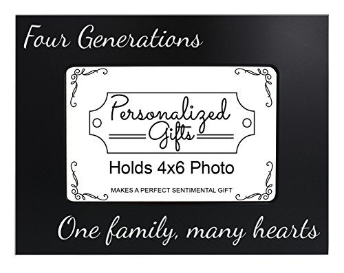 ThisWear Metal Family Picture Frame Four Generations One Family Many Hearts Ideas Black Steel Engraved 4x6 Landscape Picture Frame Steel -