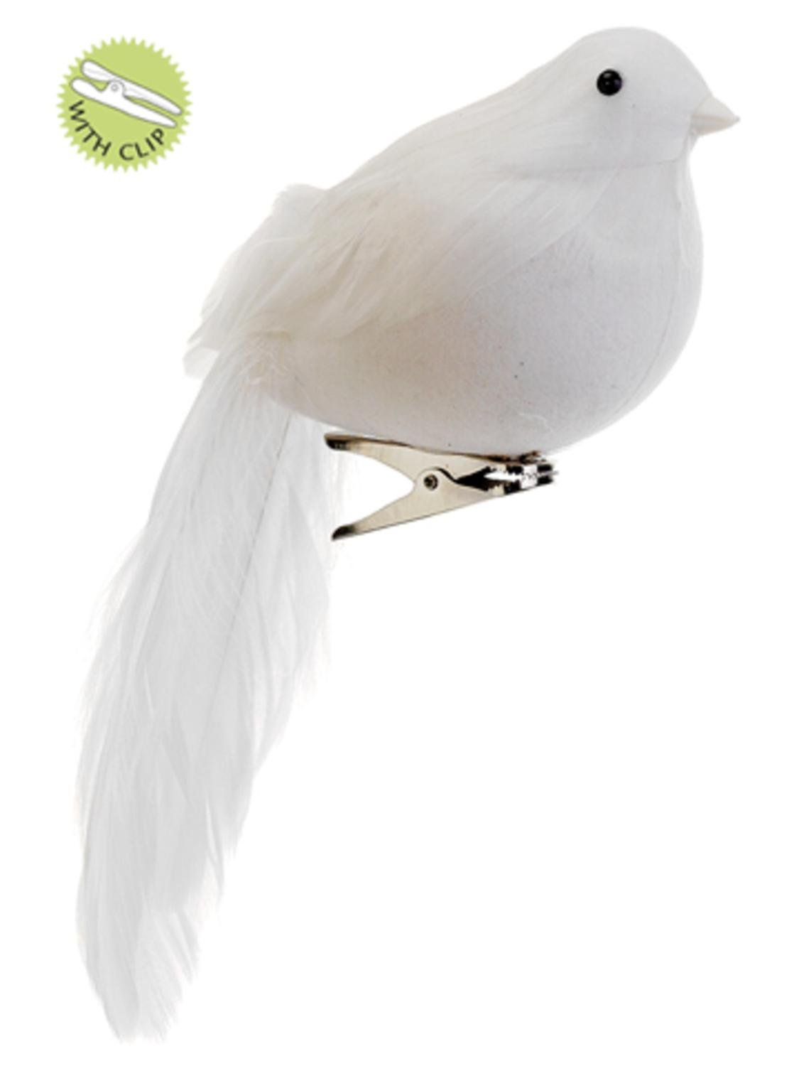 amazoncom 7 white feathered long tail clip on bird christmas ornament home kitchen - Bird Christmas Decorations
