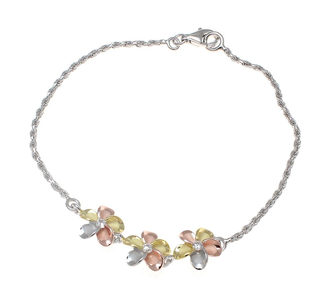 925 sterling silver yellow rose gold rhodium plated tricolor Hawaiian 3 plumeria cz rope chain anklet 9''