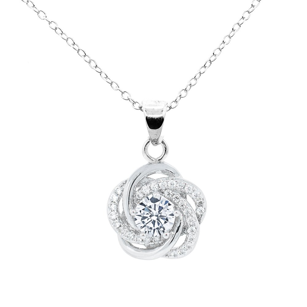 Cate & Chloe Stella Cosmic 18k White Gold Plated Pendant Necklace, Solitaire CZ Necklace, Halo, Floral, Knot, Crystal Necklace, Silver Necklace, Chain Necklace - MSRP $150