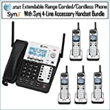 ATandT SB67158 SynJ 4-Line Extendable Range Corded-Cordless Phone System with 5 Phones, Office Central