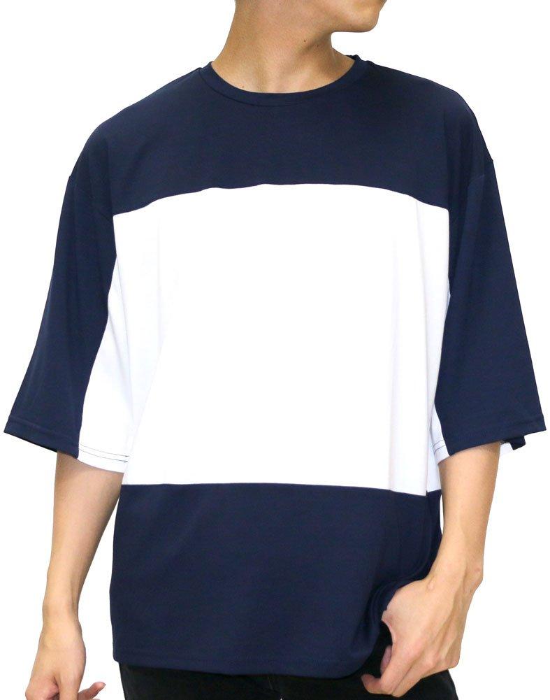[タイムリーワーニング] Tシャツ ビッグ シルエット ブロック 切替 ドロップ ショルダー メンズ B06XXY9J8P LL 柄7 柄7 LL