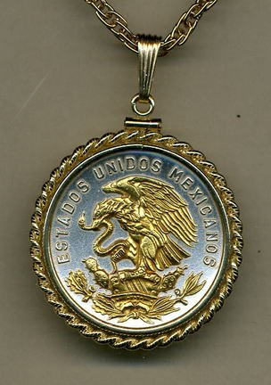 - Mexican 20 Centavo Eagle Two Tone Gold Filled Rope Bezel Coin Pendant with 24