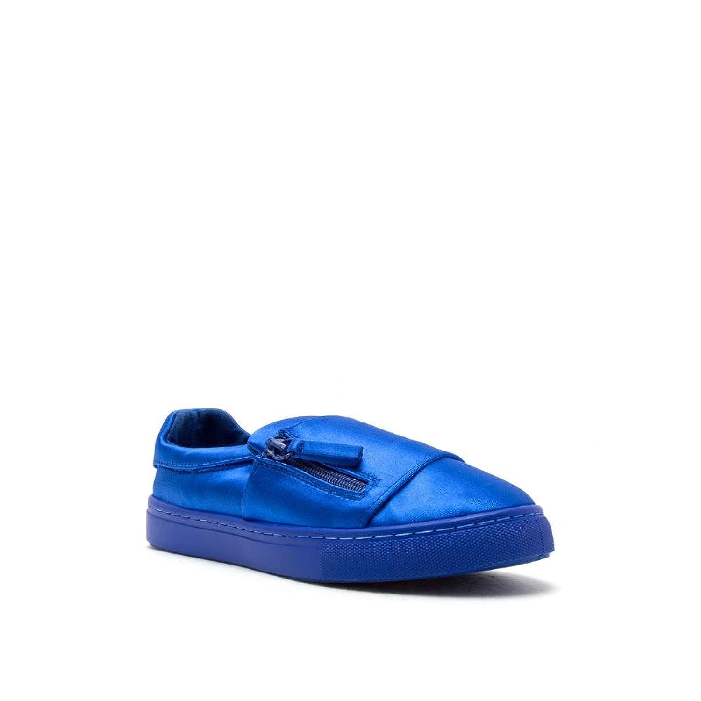 Women's Side Zip Fashion Sneaker Lycra or Canvas Moira-13 Blue Pink Camel Leopard