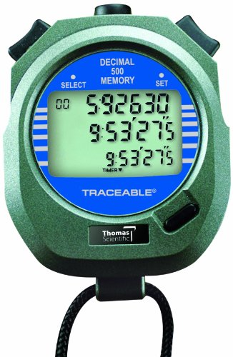 Thomas 1032 ABS Plastic Traceable Stopwatch, 1 Hr in 1/100 Sec, 3'' Length x 2-1/2'' Width x 3/4'' Thick by Thomas