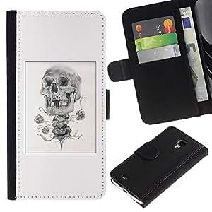 ZCell / Samsung Galaxy S4 Mini i9190 / Skull Rose Biker Poster Black White / Caso Shell Armor Funda Case Cover Wallet / Cráneo Rose Motoci