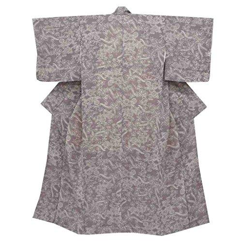 (着物ひととき) リサイクル 小紋 中古 正絹 縮緬 こもん 植物文様 裄62cm 紫系 裄Sサイズ 身丈Sサイズ ll1733b