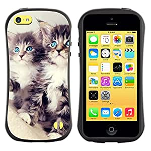 "Hypernova Slim Fit Dual Barniz Protector Caso Case Funda Para Apple iPhone 5C [Azul Principal Coon Ojos Lindo""]"