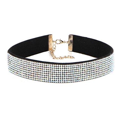 Price comparison product image Aniywn Diamond Necklace Clavicular Neck Chain Crystal Rhinestone Charm Velvet Choker Jewelry (Multicolor)