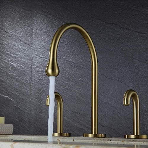 Zxyan 蛇口 立体水栓 バスルームのシンクは、スロット付き浴室の洗面台のシンクホットコールドタップミキサー流域の真鍮シンクミキサータップ非震とう浴室蛇口スプリットツーピースクローム流域の蛇口をタップ トイレ/キッチン用