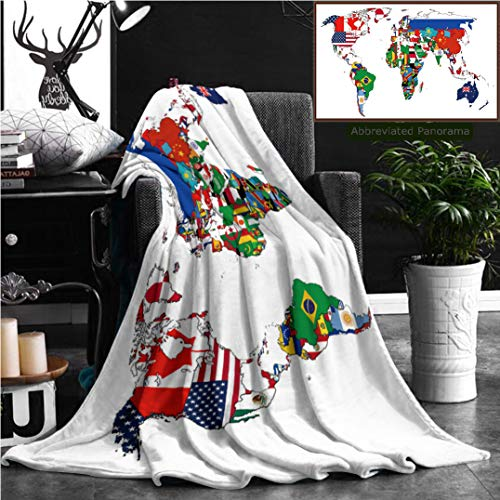 Nalagoo Unique Custom Flannel Blankets Flags Of The Countries On The World Map Super Soft Blanketry for Bed Couch, Throw Blanket 70