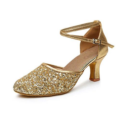VASHCAMER - Zapatos de Baile de Tacón para Mujer Oro