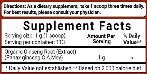 Maximum Strength Organic Ginseng Root 200:1 Powder, 4 Ounce, Support Energy, Immune, Mental Health & Physical Performance, Non-Irradiated, Non-Pesticide, Non-GMO and Vegan Friendly by Micro Ingredients (Image #6)