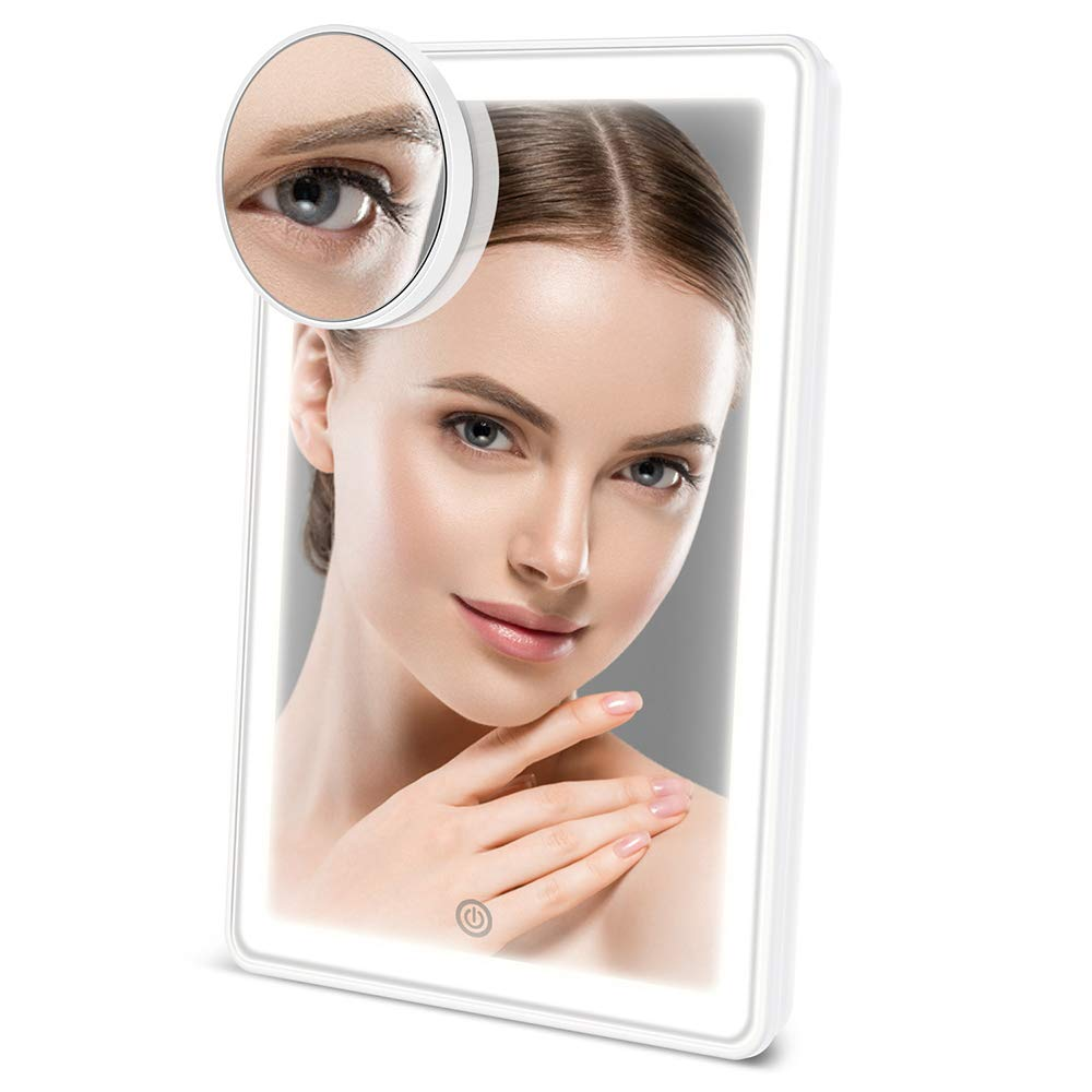 ESR7Gears Makeup Mirror with lights, 72 LED Vanity mirror attached with 10X magnification mirror, 3 color lighting and Brightness Dimmable, Dual Power Options Cosmetic Lighted Up Mirror