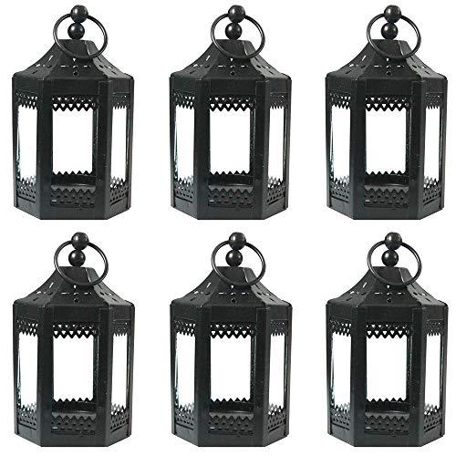 Vela Lanterns 6pc 4.5 Inch Metal Tealight Mini Candle Lantern, Black