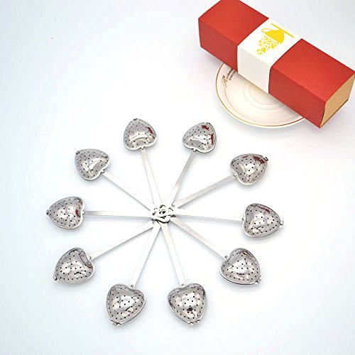Tea Filter Long Grip Stainless Steel Mesh Heart Shaped Tea Strainer Spoon, Set of 10 Tea Infuser (10 Stainless Steel Mesh Colander)