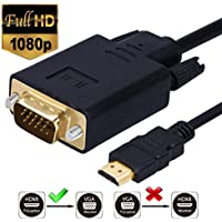 HDMI to VGA Cable Gold-plated 1080P HDMI Male to VGA Male Active Video Converter Cord (6 Feet/1.8 Meters)