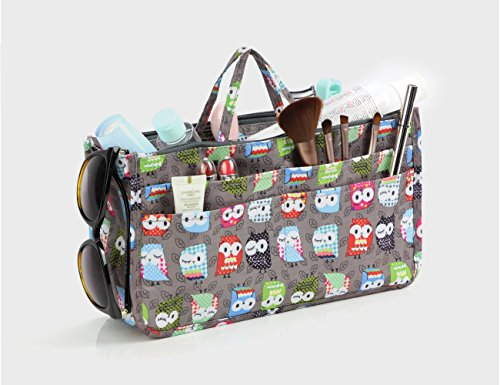Cosmetic Bag for Women Cute Printing 14 Pockets Expandable Makeup Organizer Purse with Handles (Owl) by MICOM (Image #5)
