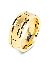 8mm Men's Tungsten Ring Wedding Band 14k Gold Brush Center & Grooves Size 8-16