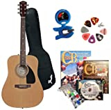 Fender Beginner Acoustic Guitar, ChordBuddy Learning System, Snark Guitar Tuner, Assorted Guitar Picks