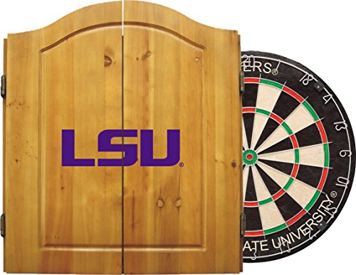 Tiger Tips - Imperial Officially Licensed NCAA Merchandise: Dart Cabinet Set with Steel Tip Bristle Dartboard, LSU Tigers