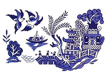 Amazon.com: Azul sauce Oriental Pagoda barco pájaros escena ...