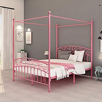 Amazon Com Dumee Queen Size Metal Canopy Bed Frame