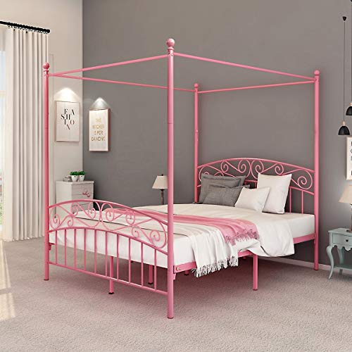 (DUMEE Queen Size Metal Canopy Bed Frame Platform Sweet Pink Style Mattress Foundation with Headboard and Footboard Girl Princess Beds Box Spring Replacement (Pink, Queen))