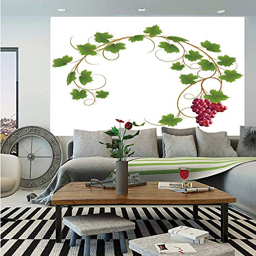 SoSung Grapes Home Decor Huge Photo Wall Mural,Curved Ivy Branch Deciduous Woody Wines Seed Clusters Cabernet Kitchen,Self-Adhesive Large Wallpaper for Home Decor 108x152 inches,Green ()