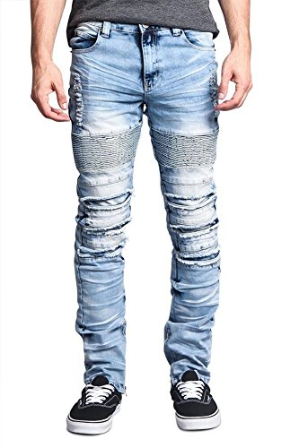 Victorious G-Style USA Men's Ripped Knee Inseam Ankle Zipper Biker Style Premium Quality High Fashion Jeans DL1073 - Light Indigo - 32/30 - FF1G by Victorious