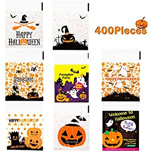 Whaline 400Pcs Halloween Candy Bag, Self Adhesive Clear Cookie Treat Bags, Cellophane Plastic Gift Bags for Halloween Party Supplies, Homemade Craft, ...