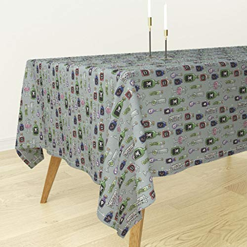 Roostery Tablecloth - Halloween Fabric Witch Potion Witches Pantry Creepy Fabric Cute Bottles by Amber Morgan - Cotton Sateen Tablecloth 70 x 144]()