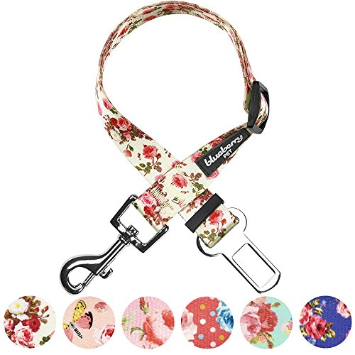 Blueberry Pet Spring Scent Inspired Pink Rose Print Ivory Adjustable Dog Seat Belt Tether for Dogs Cats, Durable Safety Car Vehicle Seatbelts Leads Use with Harness