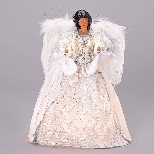 Roman 14.5 inch Tall Dark Skin Angel Dressed in a Silver and White Gown Treetopper (Topper Angel Christmas Black)