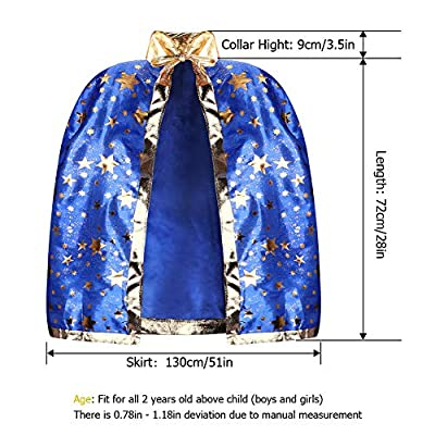 iYoYo Kids Halloween Costumes Witch Wizard Cloak with Hat Wizard Cape and Hat Child's Party Costume for Boys Girls Children(Blue): Toys & Games