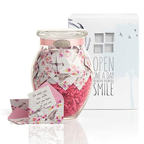 KindNotes Glass Keepsake Gift Jar with Sympathy Messages - Birds and Flowers