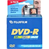 Fujifilm Media 25302444 DVD-R Camcorder 1.4GB 30 Minutes 4X Jewel HT - 5 Pack (Discontinued by Manufacturer)