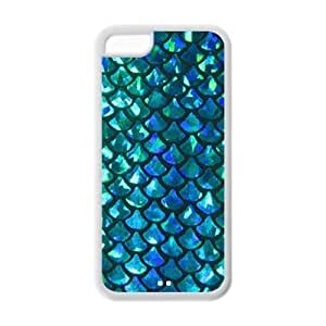 LJF phone case Mermaid Scales Pattern ipod touch 4 Protective Case Hot Sale Black/ White.